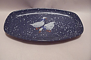 Frankoma Speckled Blue & Goose Pattern Pottery Platter