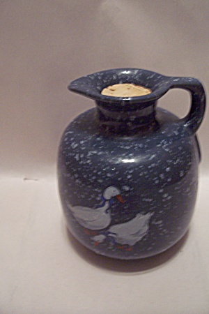 Frankoma Blue Speckled & Goose Pattern Pottery Pitcher