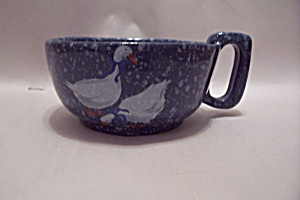 Frankoma Blue Speckled & Goose Pattern Pottery Cup