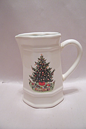 Pfaltzgraff White Porcelain Christmas Decorated Pitcher