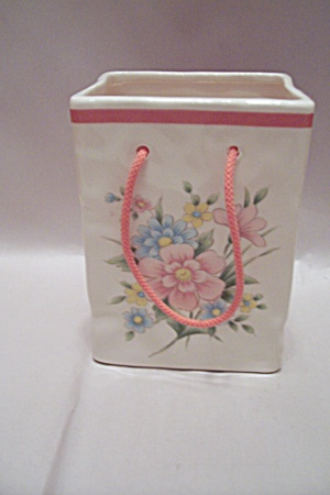 White Porcelain Flower Decorated Cache Pot