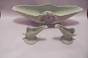 Light Green Porcelain Gondola Bowl With 2 Side Pieces