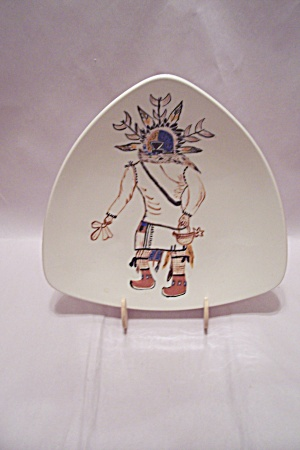 Hand Painted Kachina Porcelain Three Toed Tray/dish