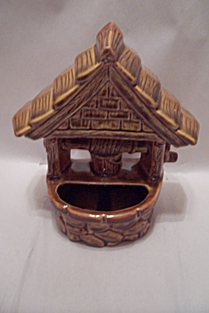 Mccoy Brown Pottery Wishing Well Wall Pocket