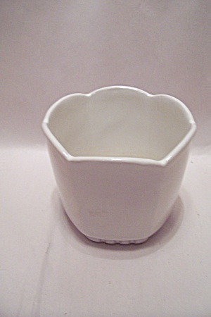 White Frankoma 6-sided Pottery Planter