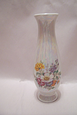 Porcelain Oplalescent Floral Decorated Bud Vase