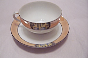 Peach Lustre Trimmed Two Swans Teacup & Saucer