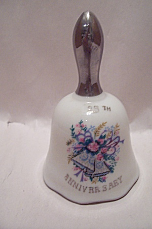 Porcelain Collectible 25th Wedding Anniversary Bell