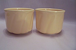 Pair Of Homer Laughlin Yellow Pottery Small Bowls