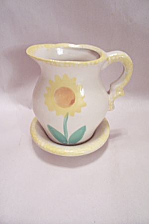White Porcelain Hand Painted Sunflower Pitcher