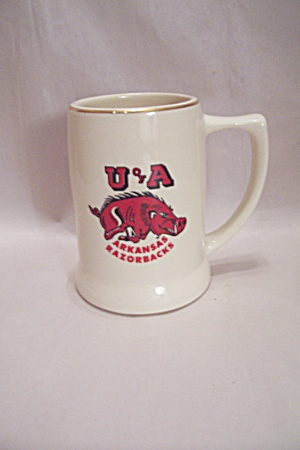 White Porcelain University Of Arkansas Beer Mug