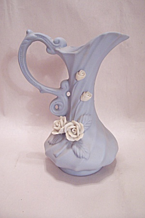 Light Blue Porcelain Miniature Flower Decorated Pitcher