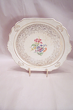 Harker China Floral Pattern Chop Plate