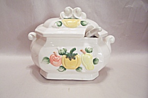 Porcelain Vegetable Decorated Covered Serving Bowl