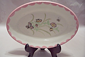Butterfly & Flower Decorated Oval Plate/platter