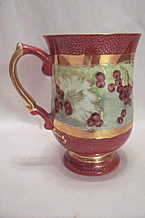 Hand Painted & Gilt Trimmed Porcelain Footed Mug