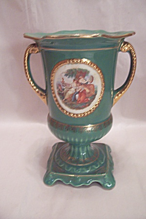 English Porcelain Turquoise Footed & Handled Vase