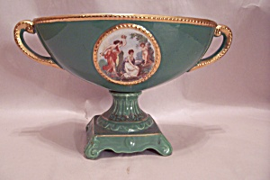English Turquoise & Gilt Fine Porcelain Footed Compote