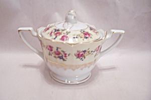 Gold Castle Pattern Fine China Sugar Bowl W/lid