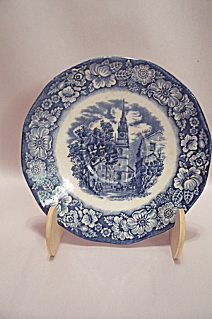 Blue Liberty China Old North Church Saucer