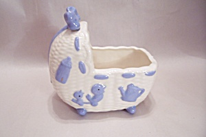 Porcelain White & Blue Baby Bassinet Cache Pot