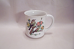 Porcelain White Bird & Flower Decorated Mug