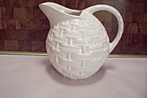 Porcelain White Basket Weave Pitcher