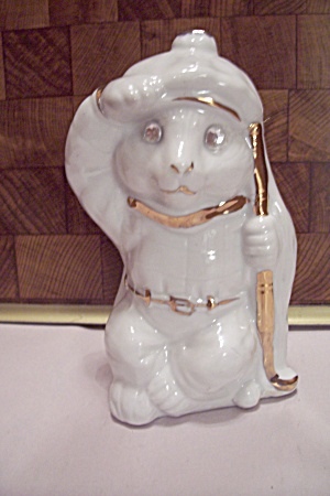 White Porcelain Cat Golfer Figurine