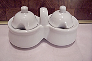White Porcelain Double Condiment Pots Set