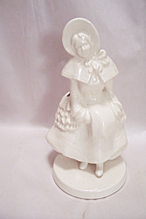 White Porcelain Colonial Woman Cache Pot