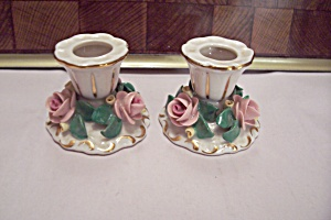 Pair Of Dresden Fine Porcelain Rose Candle Holders