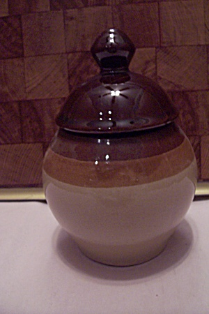 Brown & Tan Glazed Pottery Lidded Cannister