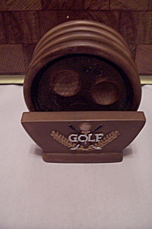Brown Wood Color Composition Golf Coaster Set