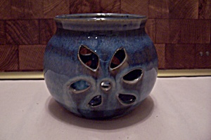 Blue Hand Thrown Art Pottery Round Candle Holder
