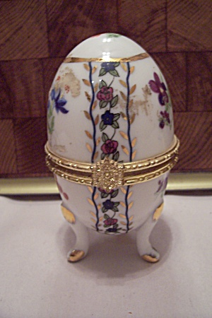 White Porcelain Floral Decorated Egg Shaped Trinket Box