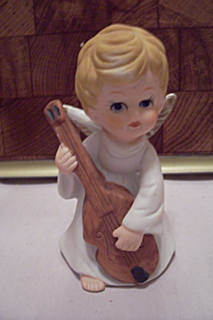 Porcelain Angel Playing A Cello Figurine