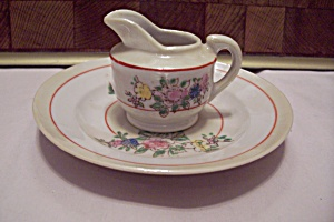 Occupied Japan Small Creamer & Under Plate Set