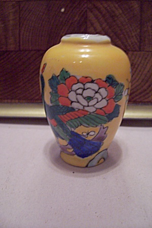 Occupied Japan Yellow Floral Decorated Miniature Vase