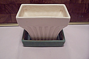 Mccoy Rectangular White & Green Pottery Planter