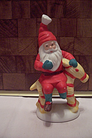 Porcelain Santa Claus On A Horse Figurine