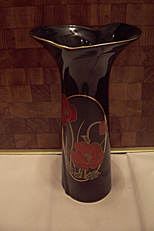 Japan Fine China Black Flower Decorated Vase