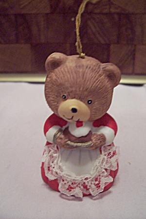 Porcelain Little Girl Bear In Red Dress Bell