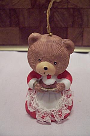 Porcelain Little Girl Bear In Red Dress Bell (Image1)