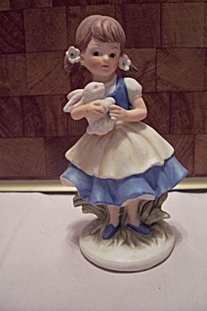 Porcelain Little Girl With Bunny Figurine (Image1)