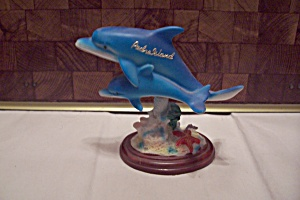 Porcelain Padre Island Pair Of Bobble Head Dolphins