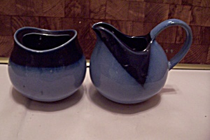 Hand Thrown Two-tone Blue Pottery Creamer & Sugar Set