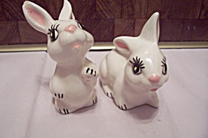 Pair Of Hand Made Art Ceramic Bunnies