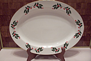 Japan Fine Porcelain Christmas Holly Oval Platter