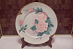 Japanese Hand Painted Pink Rose Collector Plate