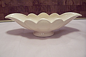 Mccoy White Pottery Gondola Shaped Footed Bowl